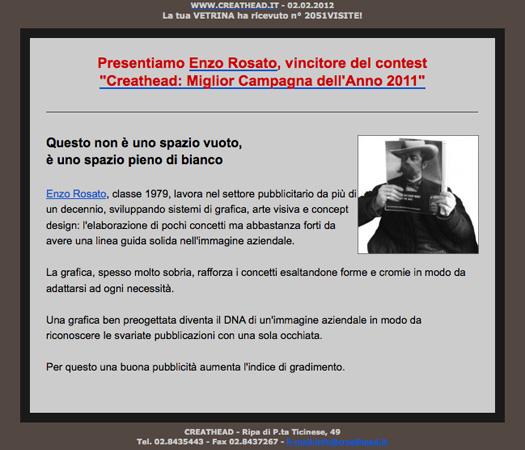 Enzo Rosato vincitore del contest Creathead